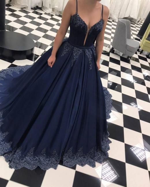 Dunkel Blau Abendkleider Lang Günstig Prinzessin Spitze Abendmoden Abiballkleider