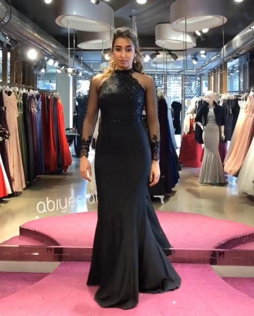Elegante Schwarzes Abendkleid | Glitzer Abendkleider Lang Mit Ärmel