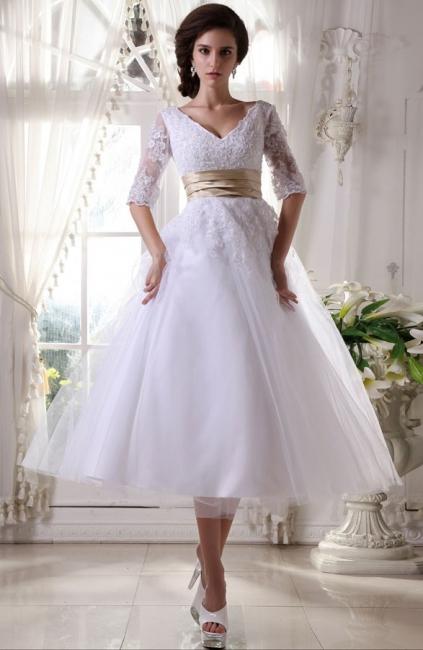 Elegant White Wedding Dresses Short With Lace Sleeves Organza Bridal Fashion Wedding Gowns