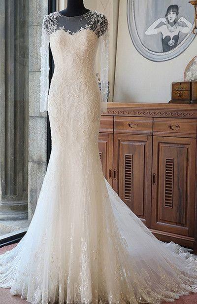 Lange Ärmel Brautkleider Weiß Spitze Meerjungfrau Perlen Brautmoden Hochzeitskleider