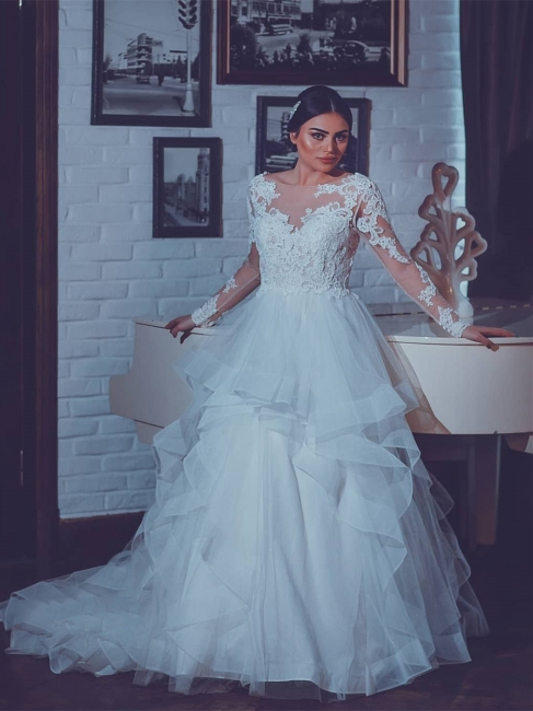 Fashion Wedding Dresses With Sleeves Lace A Line Wedding Dresses Big Size