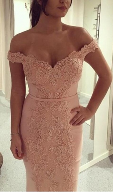 Elegant Evening Dresses Long With Lace Off Shoulder Chiffon Sheath Dress Prom Dresses Online