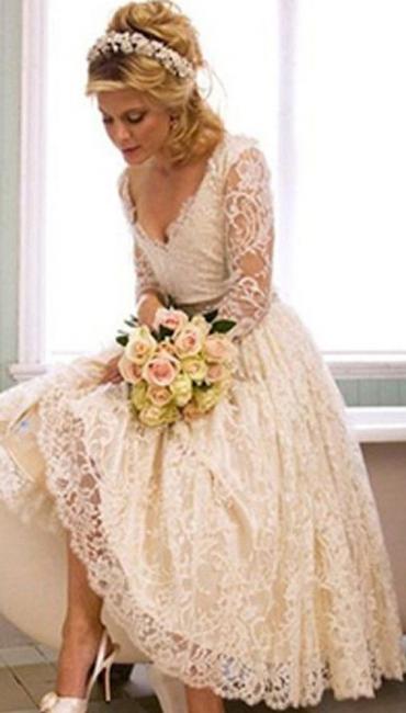 Elegant Brautkleider Kurz Lang Ärmel Spitze A linie Brautmoden Hochzeitskleider