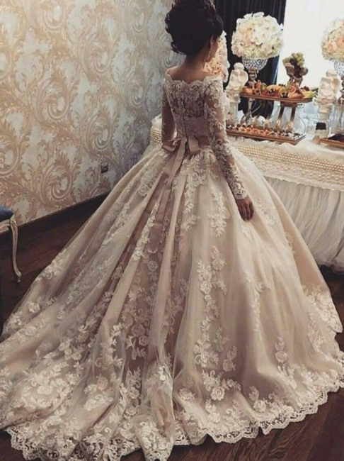 Champagne Wedding Dresses Lace Long Sleeves Princess Bridal Wedding Dresses Cheap