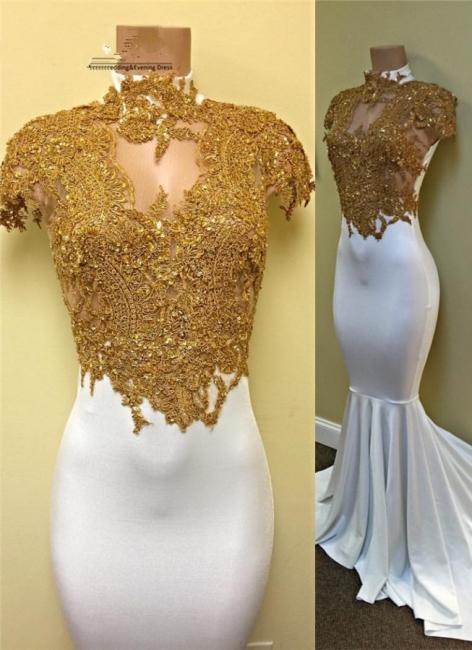 Elegante Weiße Abschlussballkleider Lang Meerjungfrau Abiballkleider Abendkleider