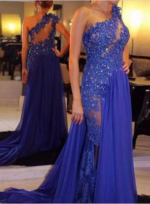 Blue Prom Dresses Long With Lace One Shoulder Beaded Chiffon Evening Wear Prom Dresses