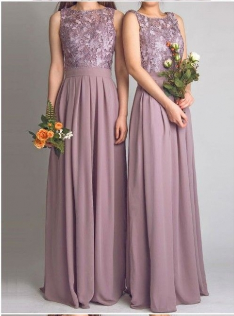 Dusty Pink Bridesmaid Dresses Long Cheap Lace Chiffon Dress For Bridesmaids