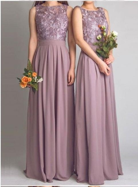 Altrosa Brautjungfernkleider Lang Günstig Spitze Chiffon Kleid Für Brautjungfern