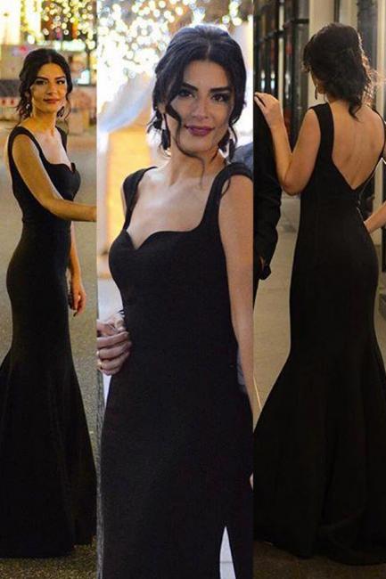 black long evening dresses cheap satin mermaid evening wear prom dresses