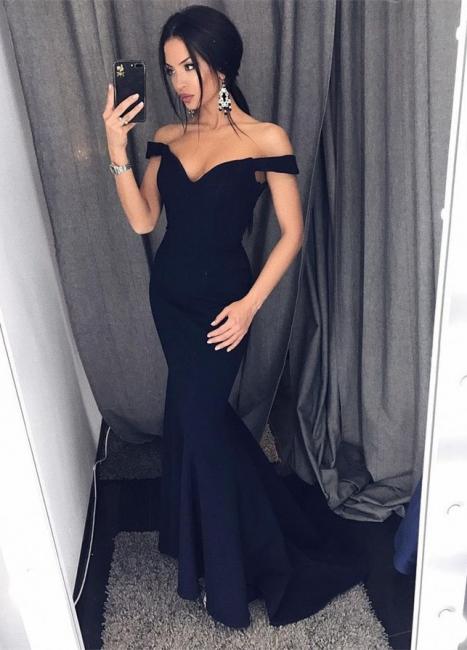 Layered Black Evening Dresses Long Off Shoulder Mermaid Evening Wear for Sale