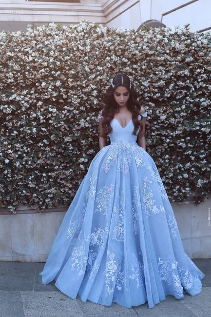 Designer Blue Evening Dresses Long With Lace Straps A Line Evening Wear Prom Dresses