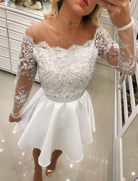 White Cocktail Dresses Lace Long Sleeves A Line Short Evening Dresses Chiffon