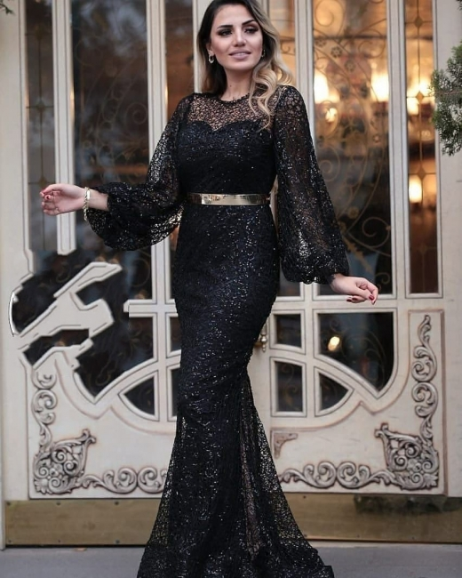 Evening dresses long glitter | Black evening wear with sleeves