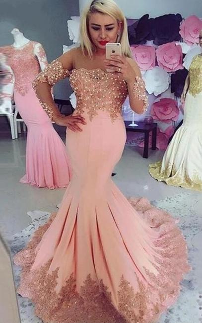 Elegante Rosa Abendkleider Mit Ärmel | Abendmoden Günstig Online
