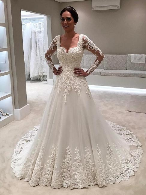 Elegante Brautkleider Mit Ärmel | A Linie Spitze Hochzeitskleider