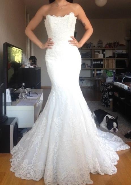 Spitze Hochzeistkleider Weiß Meerjungfrau Stil Brautkleider Hochzeitsmoden