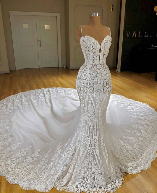 Elegant white wedding dresses lace mermaid wedding gowns for sale online