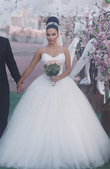 Princess Wedding Dresses White With Pearls Cheap Wedding Dresses Online