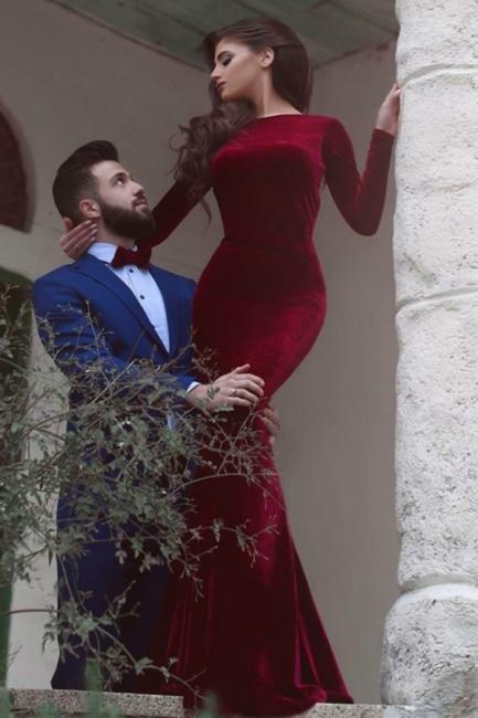 Wine Red Evening Dresses Long Sleeves Velvet Mermaid Evening Wear Prom Dresses Cheap
