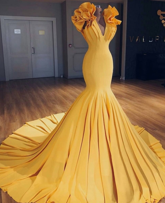 Fashion yellow long evening dresses cheap mermaid prom dresses evening wear online