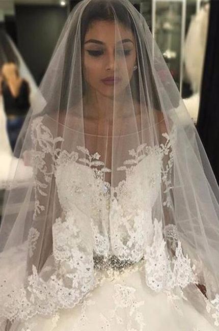 Weiße Brautkleider Lang Ärmel Spitze Empire Brautmoden Hochzeitskleider