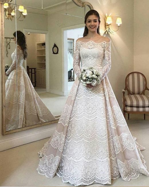 Elegant wedding dresses with sleeves | Lace Wedding Dresses Cheap Online