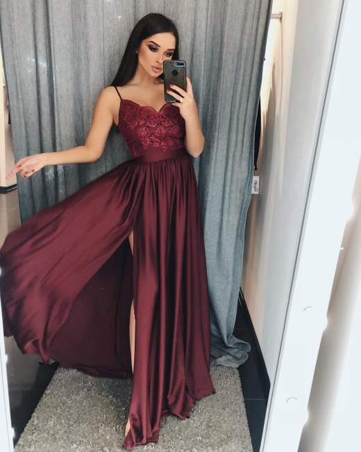 Simple evening dresses wine red | Evening wear long cheap online