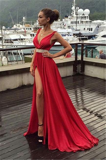 Elegante Rote Abendkleider Lang Günstig Chiffon Kleider Festliche Kleider Online