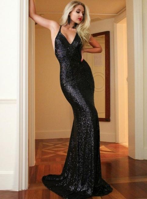 Schlichte Schwarz Lange Abendkleider Pailletten Abiballkleider Abendmoden Online