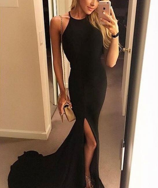 Elegant black long evening dresses cheap mermaid prom dresses online