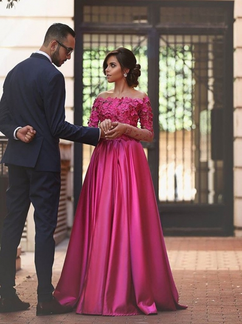 Buy pink long evening dresses with lace sleeves a line floor length evening wear