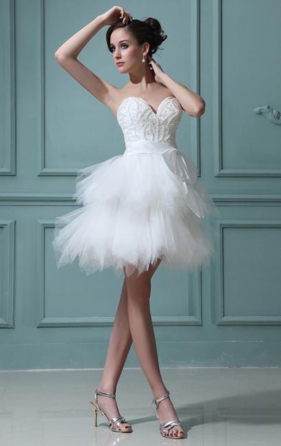 Wunderschöne Weiß Brautkleider Kurz Tüll A Linie Brautmoden Mini Hochzeitskleider Günstig