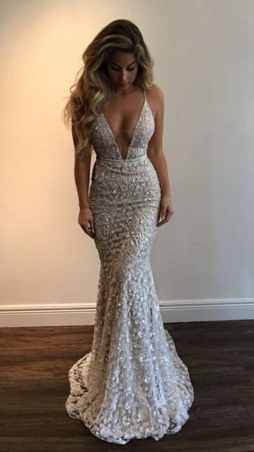 Elegante Abendkleider Spitze Lang Günstig Meerjungfrau Abendmoden Abiballkleider