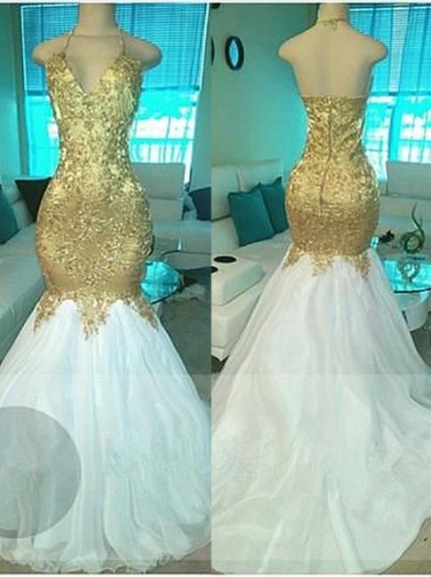 Goldene Weiße Abendkleider Lang Abschlussballkleider Perlen Meerjungfrau Abiballkleider