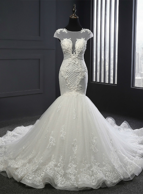 Designer White Wedding Dresses With Lace Mermaid Organza Wedding Gowns Cheap