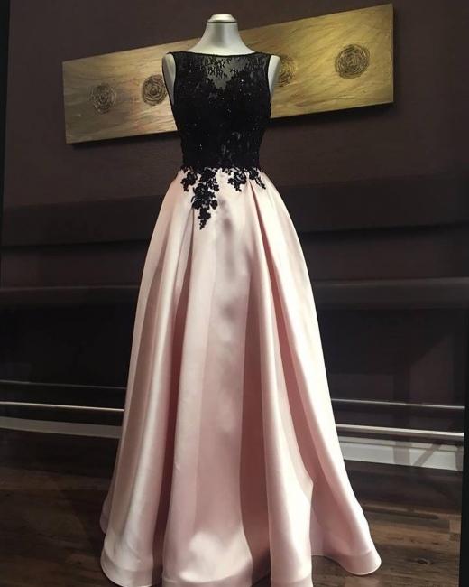 Moderne Abendkleider Lang Rosa Schwarz Spitze Bodenlang Abendmoden