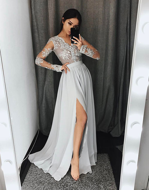 Silver Evening Dresses Long With Sleeves Chiffon Evening Dresses Lace Online