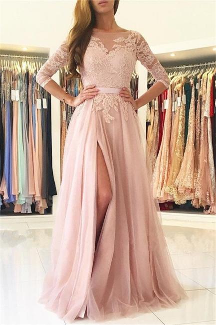 Rosa Abendkleider Lang Günstig Mit Ärmel Spitze Abendmoden Online