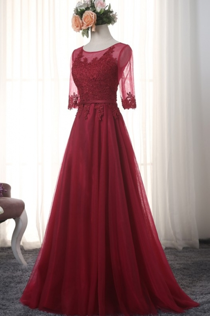 Red Evening Dresses Long Sleeves With Lace A line Tulle Evening Wear Party Dresses
