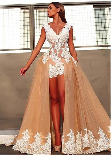 Elegant Evening Dresses Front Short Behind Long Prom Dresses Online Cheap