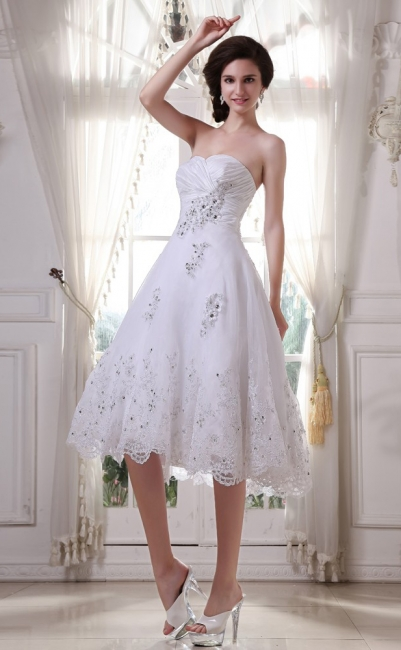 White Wedding Dresses Short Lace Heart A Line Knee Length Bridal Wedding Gowns