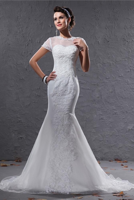 Weiß Brautkleider Mit Ärmel Spitze Meerjungfrau Organza Hochzeitskleider