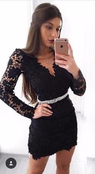 Chic Black Cocktail Dresses Short With Sleeves Lace Mini Evening Dresses Cheap