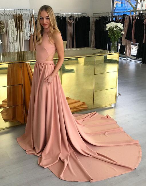 Rosa Abendkleider Lang Neckholder A Linie Abenbiballkleider Abendmoden Online