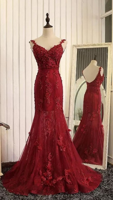 Wine red evening dresses long cheap lace mermaid prom dresses evening wear online