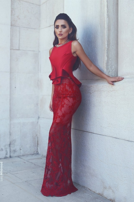 Red evening dresses long 2 pieces | Ball gown lace cheap