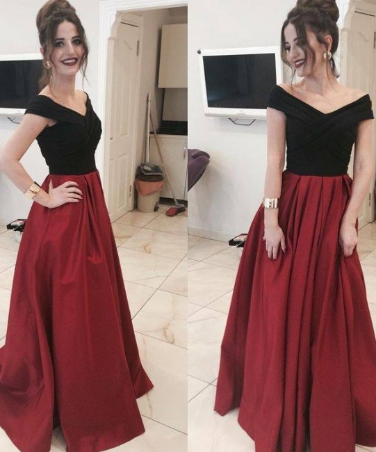 Black Red Evening Dresses Long Cheap A Line Taffeta Prom Dresses Evening Wear