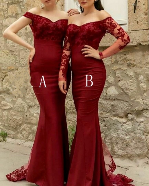 Simple evening dresses wine red with sleeves | Black evening wear online