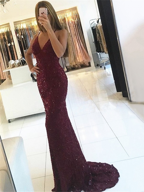 Sexy Evening Dresses Long Wine Red Mermaid Prom Dresses Evening Mdoen Cheap Online