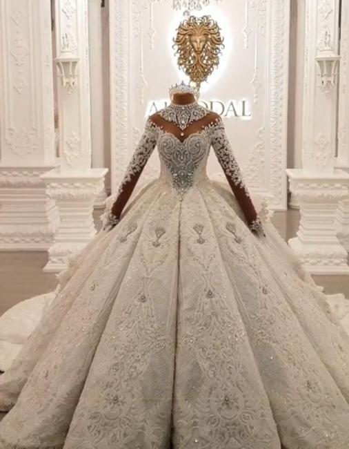Luxury wedding dresses with sleeves | Wedding dress princess with train